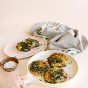 Truffle-Infused Potato and Kale Cakes